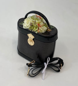 Classic Bags In Bloom Classic Vintage Style Charlotte Handbag In Classic Black With Blooms - RocknRomance Clothing