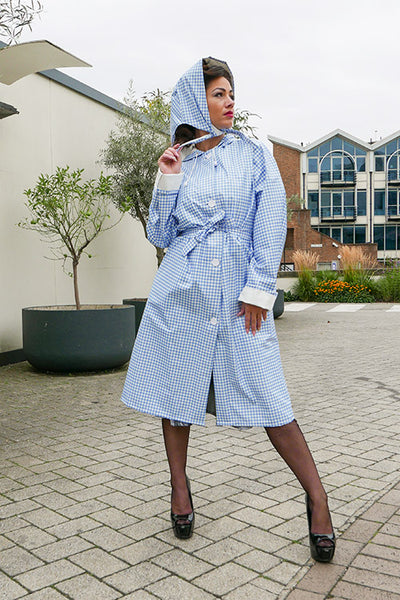 "Elements Rain Wear Authentic 1940s & 50s Style ""Vintage Rain Mac & Headscarf/Bonnet"" in Blue Gingham by Elements Rainwear - RocknRomance Clothing"