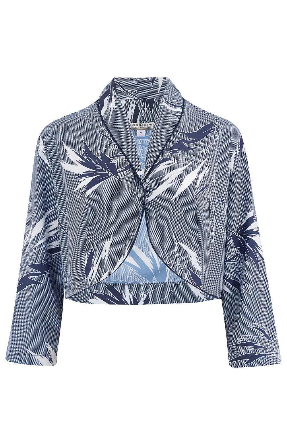 Rock n Romance **Sample Sale** Bolero in Abstract Blue Maple, Classic Vintage 1950s Inspired Style - RocknRomance Clothing