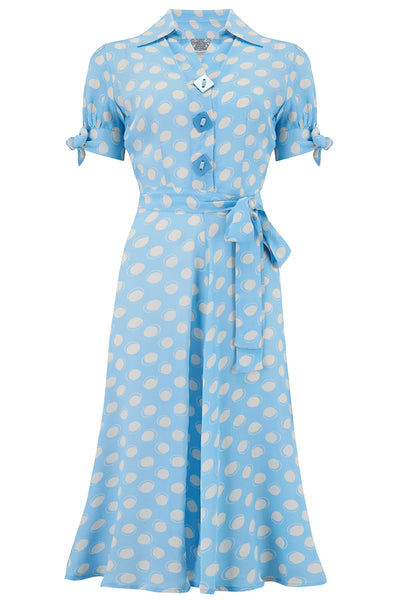 "The Seamstress Of Bloomsbury ""Iris"" Tea Dress in Blue Moonshine Print, Classic & Authentic 1940s Style at its Best - RocknRomance Clothing"