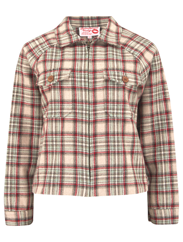 "Sample Sale.. ""Bobby Jacket"" in Woven Sage & Red Check Lightweight Wool, Classic Rockabilly Style (PLEASE READ DESCRIPTION) - RocknRomance True 1940s & 1950s Vintage Style"
