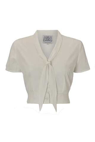 "The Seamstress Of Bloomsbury ""Bonnie"" Blouse Cream by The Seamstress of Bloomsbury, Classic 1940s Vintage Inspired Style - RocknRomance Clothing"
