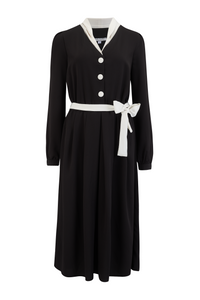 """Brenda"" Swing Dress in Solid Black with Contrast Collar, Authentic Vintage 1950s Style, New for AW19"