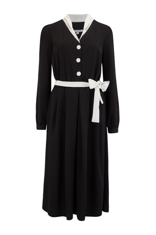 "Rock n Romance **Sample Sale** ""Brenda"" Swing Dress in Solid Black with Contrast Collar, Authentic Vintage 1950s Style - RocknRomance Clothing"