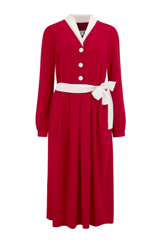"""Brenda"" Swing Dress in Solid Red with Contrast Collar, Authentic Vintage 1950s Style, New for AW19"