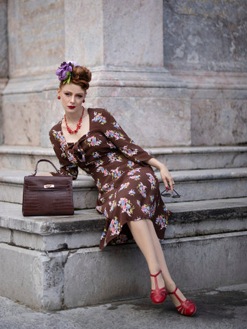 The Seamstress Of Bloomsbury Joyce 1940s Day Dress in Brown Floral, Authentic true vintage style - RocknRomance Clothing