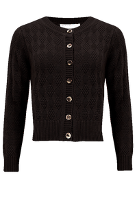 "Rock n Romance The ""Sandra"" Textured Diamond Knit Cardigan in Black, 1940s & 50s Vintage Style - RocknRomance Clothing"