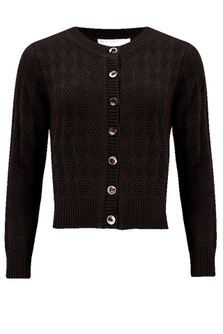 "The ""Sandra"" Textured Diamond Knit Cardigan in Black, 1940s & 50s Vintage Style - RocknRomance True 1940s & 1950s Vintage Style"