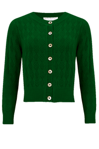 "The ""Sandra"" Textured Diamond Knit Cardigan in Green, 1940s & 50s Vintage Style - RocknRomance True 1940s & 1950s Vintage Style"