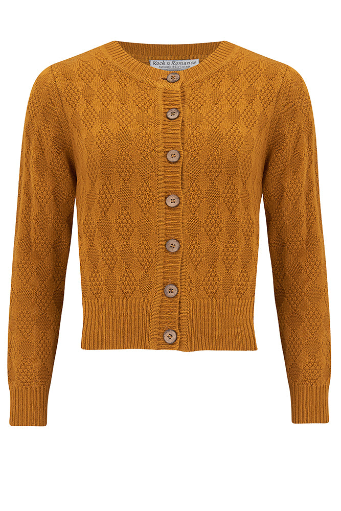 Vintage Sweaters, Retro Sweaters & Cardigan The Sandra Textured Knit Cardigan in Mustard 1940s  50s Vintage Style £39.00 AT vintagedancer.com