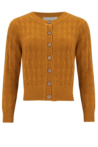 "The ""Sandra"" Textured Knit Cardigan in Mustard, 1940s & 50s Vintage Style - RocknRomance True 1940s & 1950s Vintage Style"