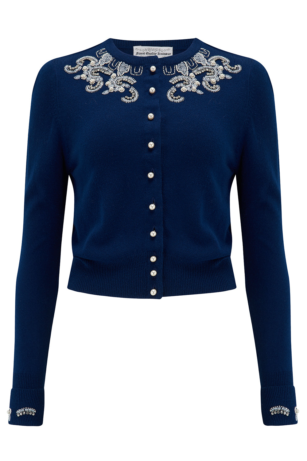 1940s Teenage Fashion: Girls The Beaded Cardigan in Navy Blue Stunning 1940s Vintage Style £69.00 AT vintagedancer.com