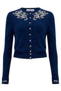 The Beaded Cardigan in Navy Blue, Stunning 1940s Vintage Style - RocknRomance True 1940s & 1950s Vintage Style