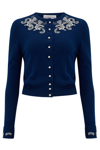 The Seamstress Of Bloomsbury The Beaded Cardigan in Navy Blue, Stunning 1940s Vintage Style - RocknRomance Clothing