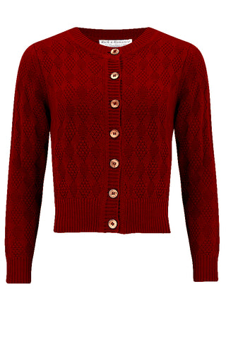 "Rock n Romance The ""Sandra"" Textured Diamond Knit Cardigan in Deep Red, 1940s & 50s Vintage Style - RocknRomance Clothing"