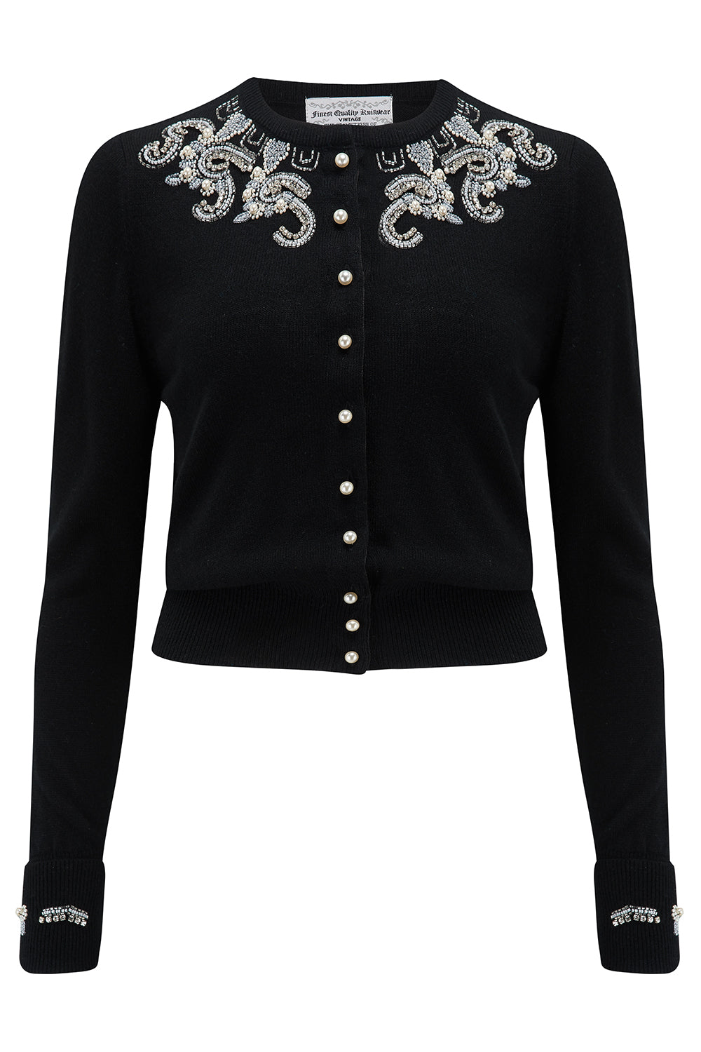 The Beaded Cardigan in Black, Stunning 1940s Vintage Style - RocknRomance True 1940s & 1950s Vintage Style