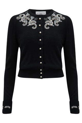 The Seamstress Of Bloomsbury The Beaded Cardigan in Black, Stunning 1940s Vintage Style - RocknRomance Clothing