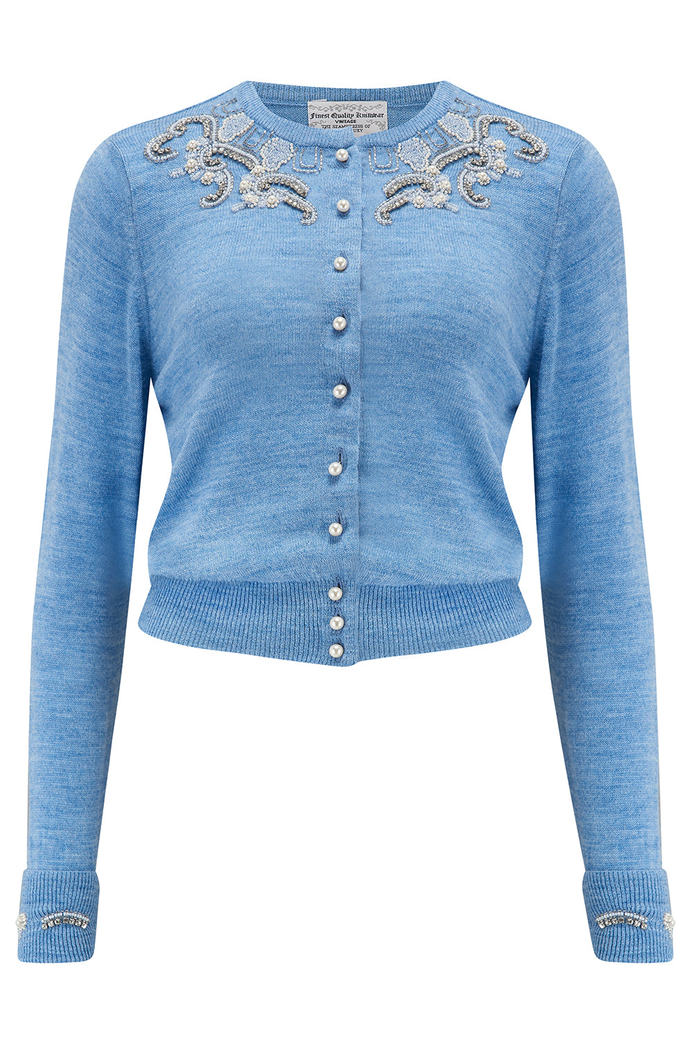 The Seamstress Of Bloomsbury The Beaded Cardigan in Marl Blue, Stunning 1940s Vintage Style - RocknRomance Clothing