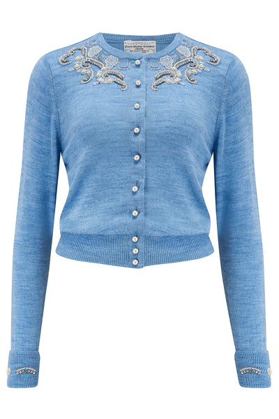 The Beaded Cardigan in Marl Blue, Stunning 1940s Vintage Style - RocknRomance True 1940s & 1950s Vintage Style