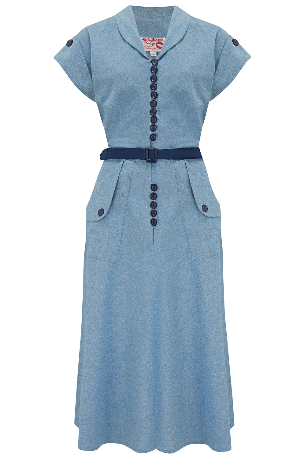 Pin Up Dresses | Pinup Clothing & Fashion The Casey Dress in Lightweight Denim Cotton Chambray True  Authentic 1950s Vintage Style £49.00 AT vintagedancer.com