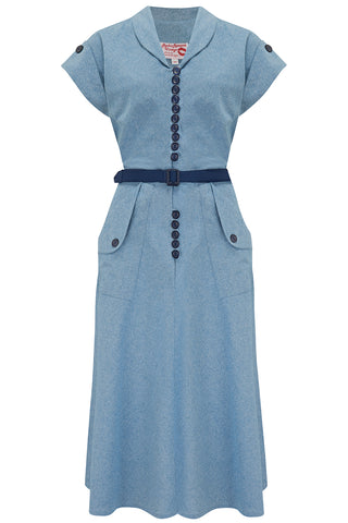 "The ""Casey"" Dress in Lightweight Denim Cotton Chambray, True & Authentic 1950s Vintage Style - RocknRomance True 1940s & 1950s Vintage Style"