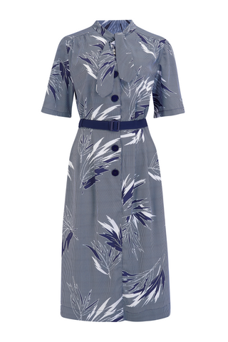 """Casidy"" Pussy Bow Dress in Abstract Blue Maple Print, Perfect 1950s Style .. AW19"