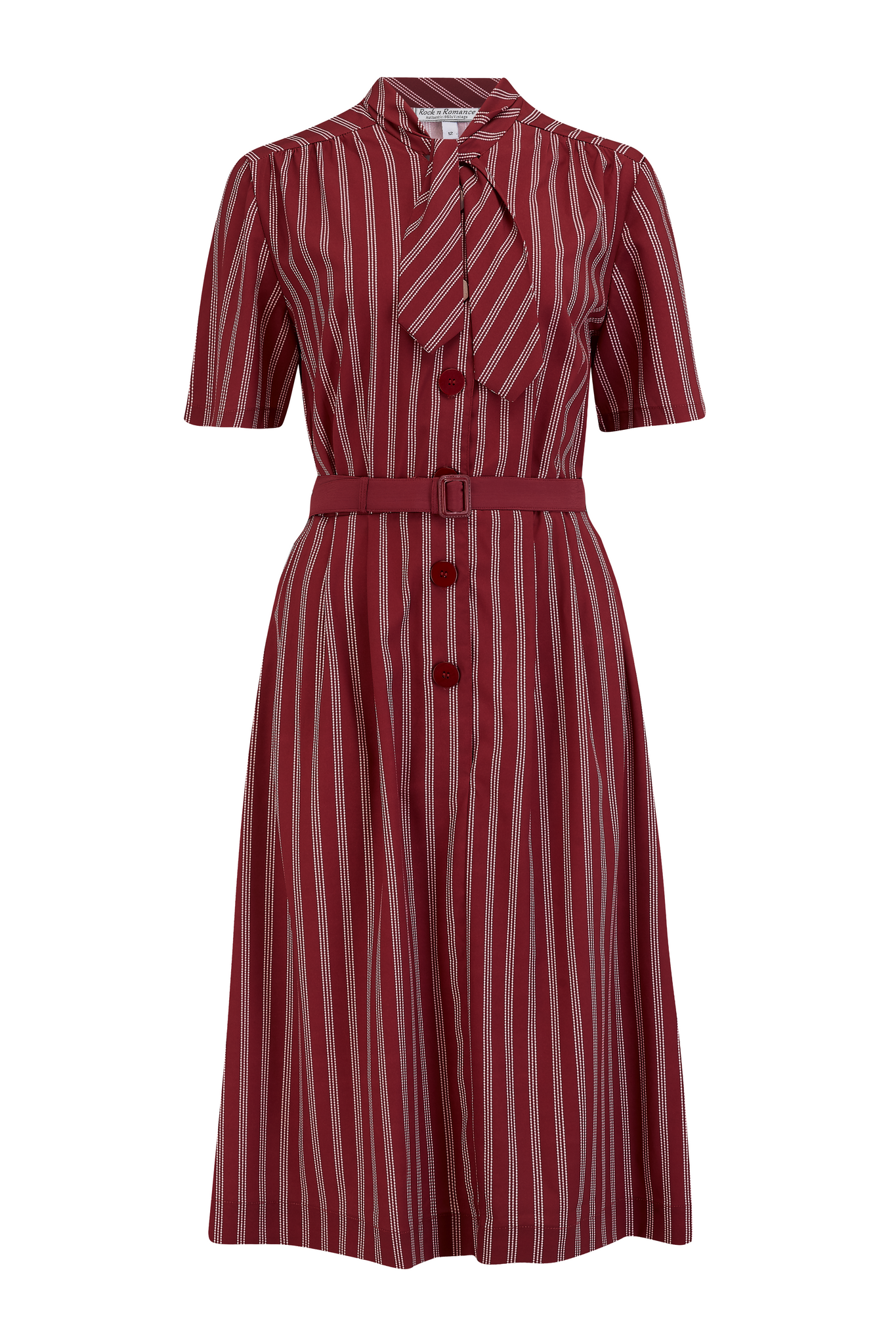 "Rock n Romance **Sample Sale** ""Casidy"" Pussy Bow Dress in Maroon Dotty Stripe Print, Perfect 1950s Style - RocknRomance Clothing"