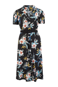 """Charlene"" Shirtwaister Dress in Black Hawaiian Print, Perfect 1950s Style .. AW19"
