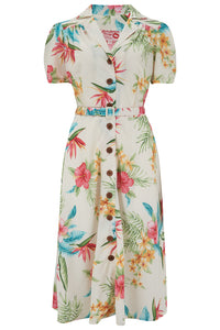 "Pre-Order.. The ""Charlene"" Shirtwaister Dress in Natural Honolulu Print, True & Authentic 1950s Vintage Style - RocknRomance True 1940s & 1950s Vintage Style"