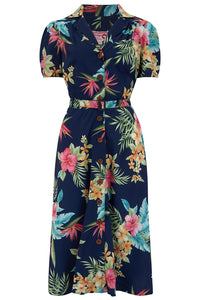 "The ""Charlene"" Shirtwaister Dress in Navy Honolulu Print, True & Authentic 1950s Vintage Style - RocknRomance True 1940s & 1950s Vintage Style"