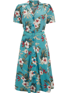 """Charlene"" Shirtwaister Dress in Teal Hawaiian Print by Rock n Romance, Perfect 1950s Style"