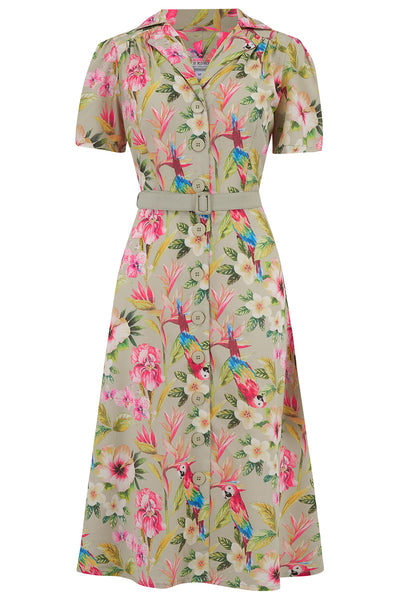 "Rock n Romance ""Charlene"" Shirtwaister Dress in Paradise Print, Perfect 1950s Style - RocknRomance Clothing"
