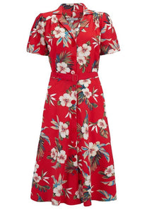 "Rock n Romance Wholesale Item.. ""Charlene"" Shirtwaister Dress in Red Hawaiian Print (RRP £49) - RocknRomance Clothing"
