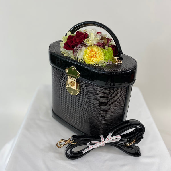 Classic Bags In Bloom Classic Vintage Style Charlotte Handbag In Classic Black with Christmas Blooms - RocknRomance Clothing