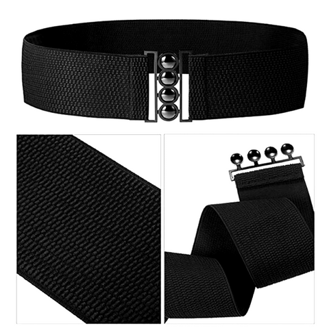 Retro Rockabilly Cinch Belt in Black - RocknRomance True 1940s & 1950s Vintage Style