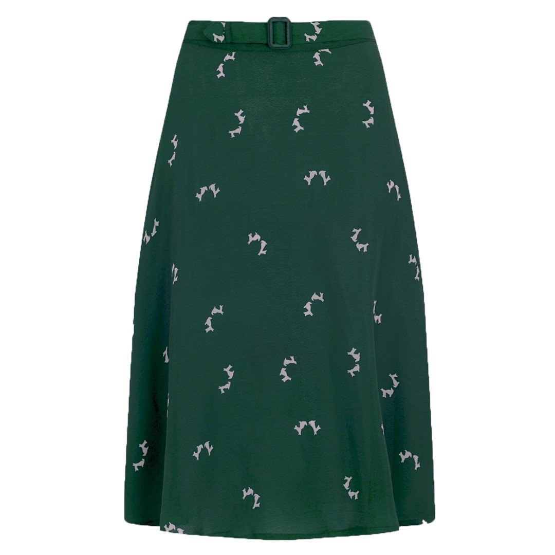 The Seamstress Of Bloomsbury Circle Skirt in Green Doggy Print, Classic & Authentic Vintage 1940s Style - RocknRomance Clothing