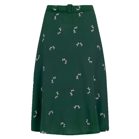 Circle Skirt in Green Doggy Print, Classic & Authentic Vintage 1940s Style