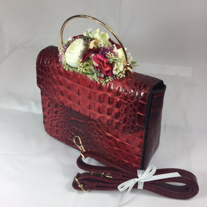 Classic Bags In Bloom Classic Vintage Style Moc Croc Clara bag In Vintage Red - RocknRomance Clothing