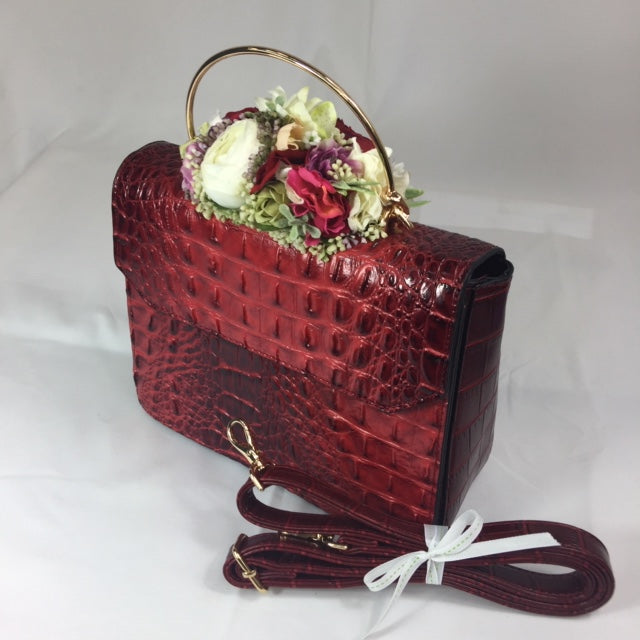 Classic Bags In Bloom ** Sample Sale** Classic Vintage Style Moc Croc Clara bag In Vintage Red - RocknRomance Clothing