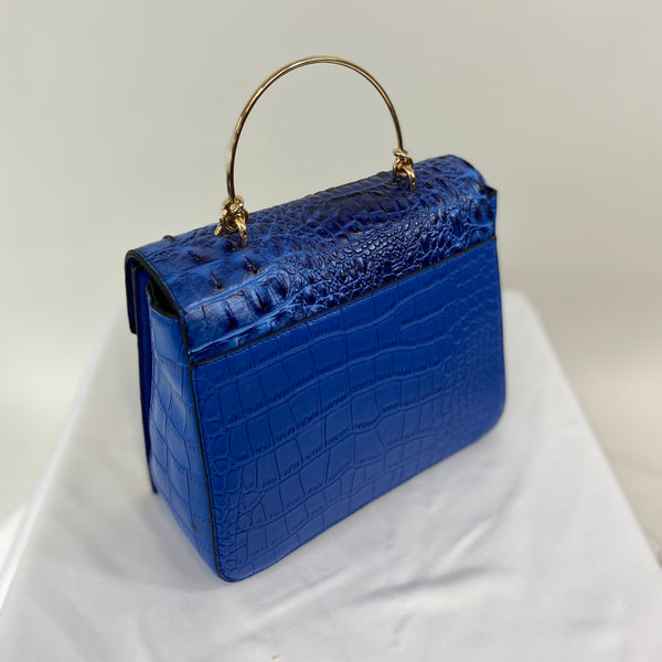 Classic Bags In Bloom Classic Vintage Style Moc Croc Clara bag In Vivid French Blue - RocknRomance Clothing