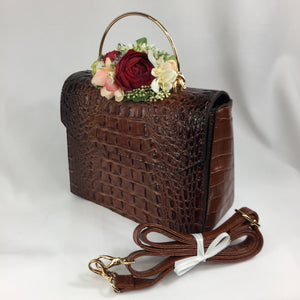 Classic Bags In Bloom Classic Vintage Style Moc Croc Clara bag In Vintage Brown - RocknRomance Clothing