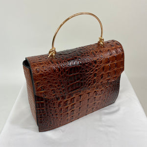 Classic Bags In Bloom Classic Vintage Style Moc Croc Clara bag In Brown Tan - RocknRomance Clothing
