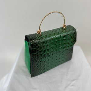 Classic Bags In Bloom Classic Vintage Style Moc Croc Clara bag In Green - RocknRomance Clothing