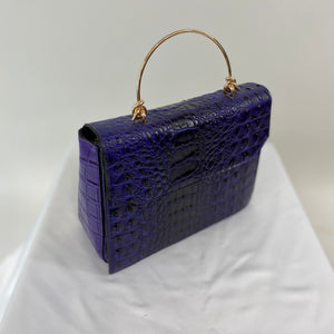 Classic Bags In Bloom Classic Vintage Style Moc Croc Clara bag In Purple - RocknRomance Clothing
