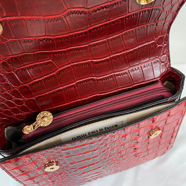 Classic Bags In Bloom Classic Vintage Style Moc Croc Clara bag In Vintage Red Velvet - RocknRomance Clothing
