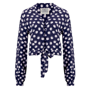 """Clarice"" Blouse in Navy Moonshine Spot, Classic 1940s Vintage Inspired Style"