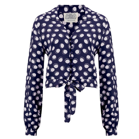 "The Seamstress Of Bloomsbury ""Clarice"" Blouse in Navy Moonshine Spot, Classic 1940s Vintage Inspired Style - RocknRomance Clothing"