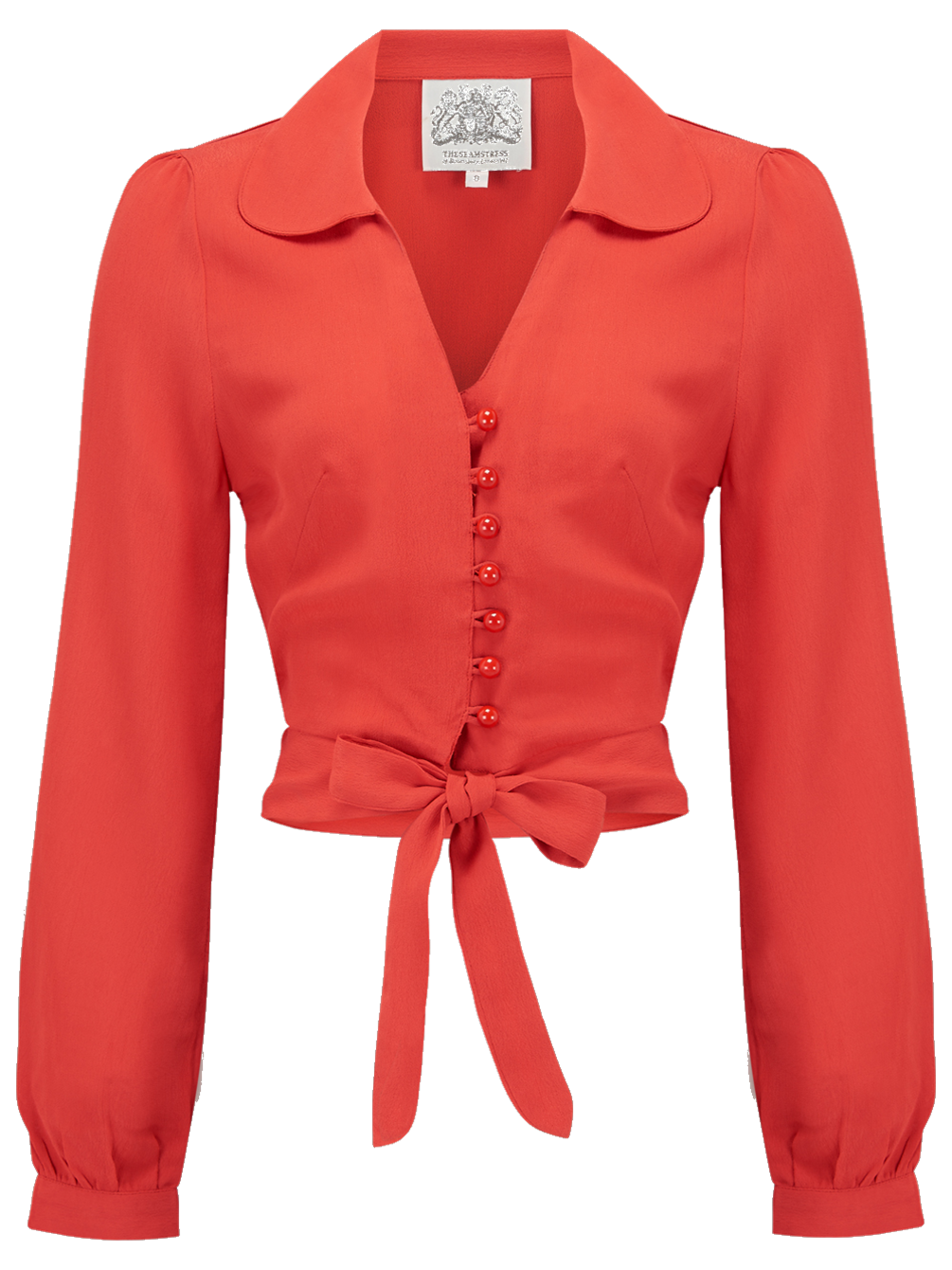 "The Seamstress Of Bloomsbury ""Clarice"" Long Sleeve Blouse in Solid Red, Authentic 1940s Vintage Inspired Style - RocknRomance Clothing"