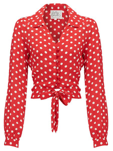 "The Seamstress Of Bloomsbury ""Clarice"" Long Sleeve Blouse in Red with Polka Dots, Classic 1940s Vintage Style Inspired - RocknRomance Clothing"