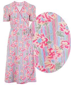 "The ""Cora"" Full Wrap Dress in Pacific Garden Print, Perfect 1950s Style - RocknRomance True 1940s & 1950s Vintage Style"